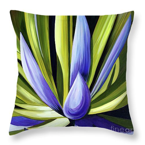 Print Purple Cactus throw pillow by Debbie Hart