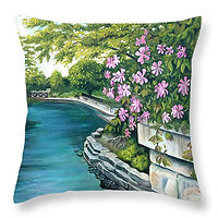 Painting Naperville 1 Throw Pillow by Debbie Hart