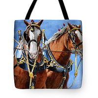 Print Best Buds Clydesdale tote by Debbie Hart