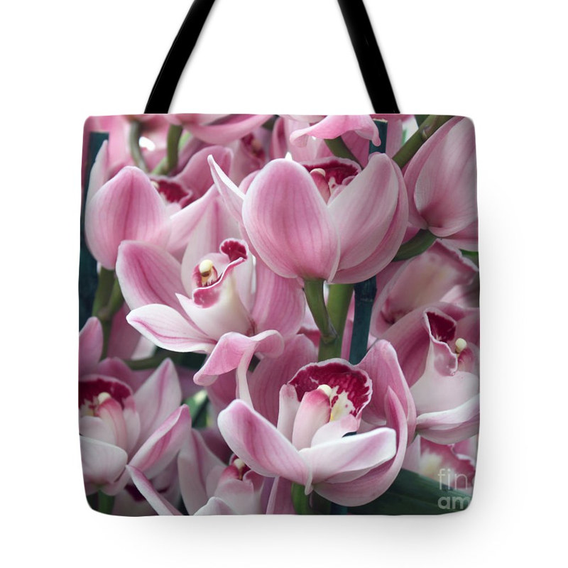 Print Pink orchids tote by Debbie Hart