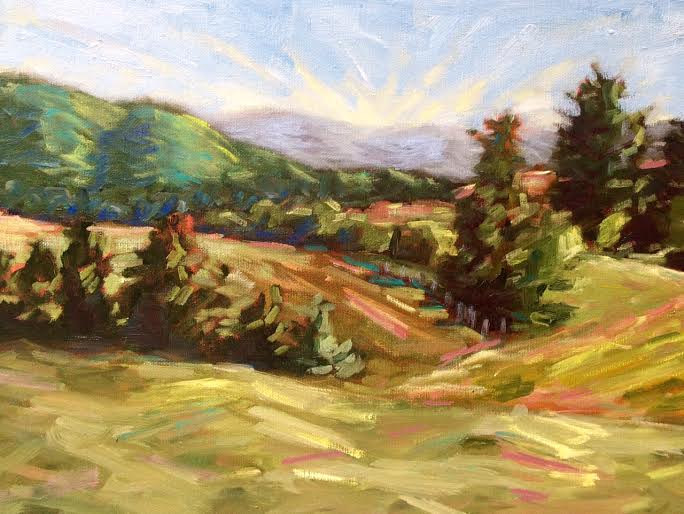 Oil painting Sunset Farm- SOLD by Sarah Trundle