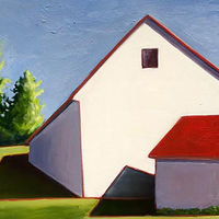 Oil painting Lancaster Barn in White- SOLD by Sarah Trundle