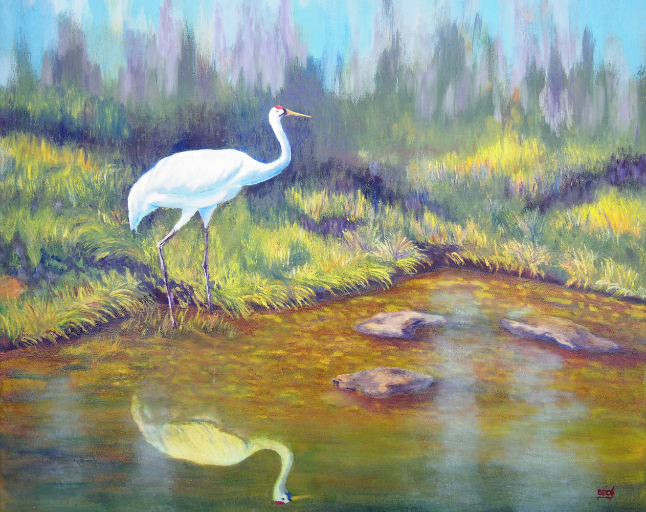 Oil painting Searching for Frogs - Whooping Crane by Brent Ciccone