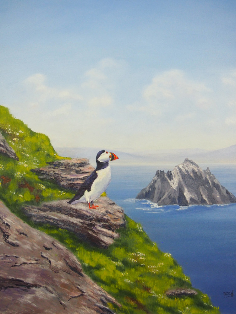 Oil painting Puffin Pilgrim by Brent Ciccone