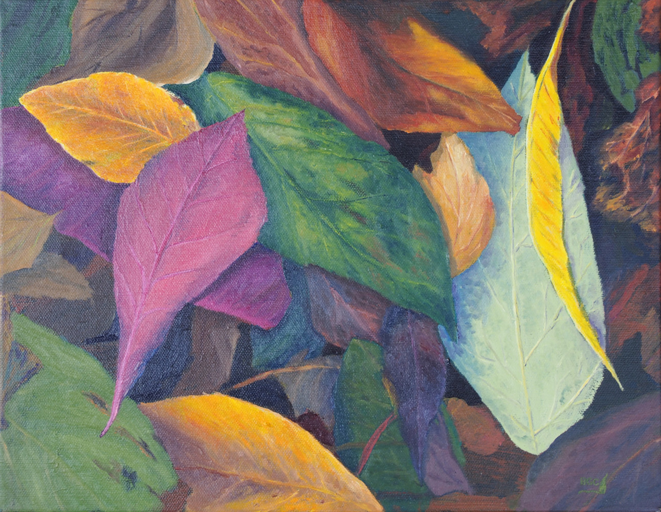 Oil painting One Yellow Leaf by Brent Ciccone