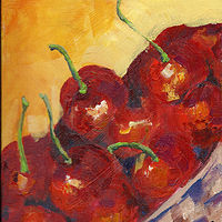 Acrylic painting Cherries in a Basket by Kathie Selinger