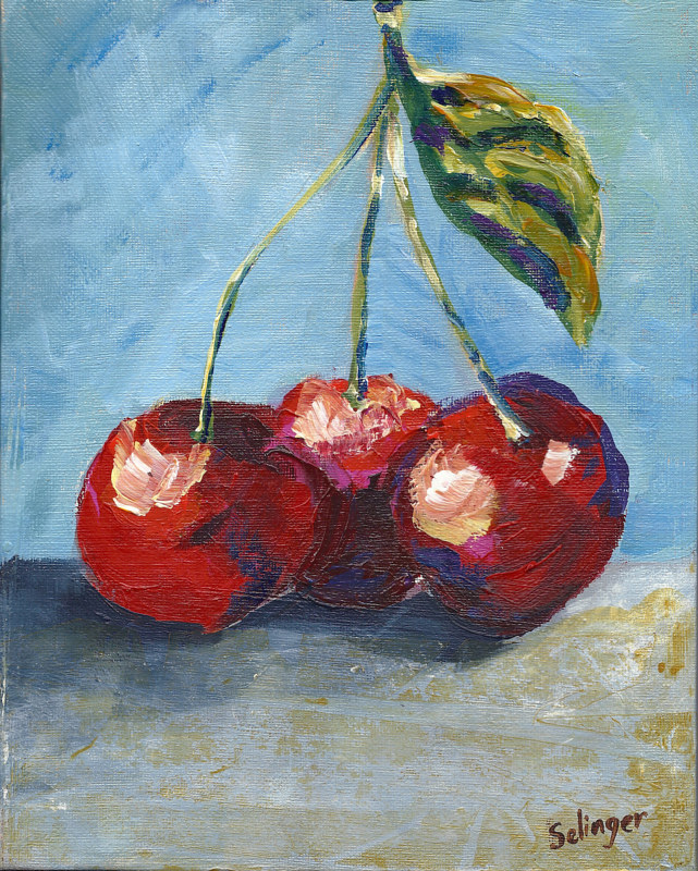 Acrylic painting Cherries by Three by Kathie Selinger