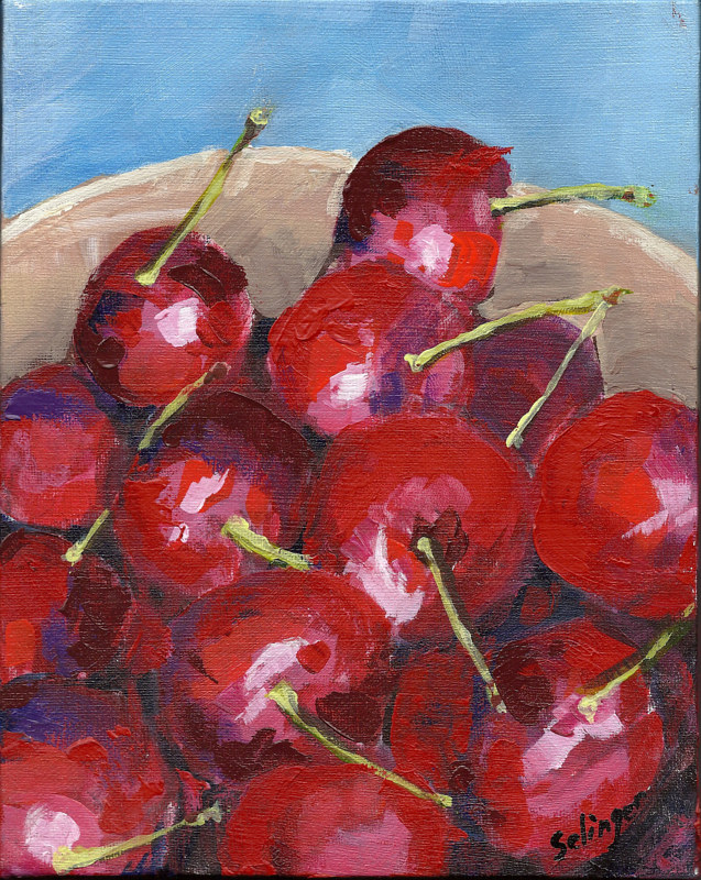 Acrylic painting Cherries by Kathie Selinger
