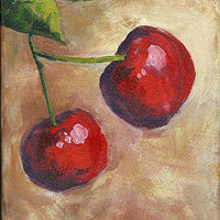 Acrylic painting Two Cherries by Kathie Selinger