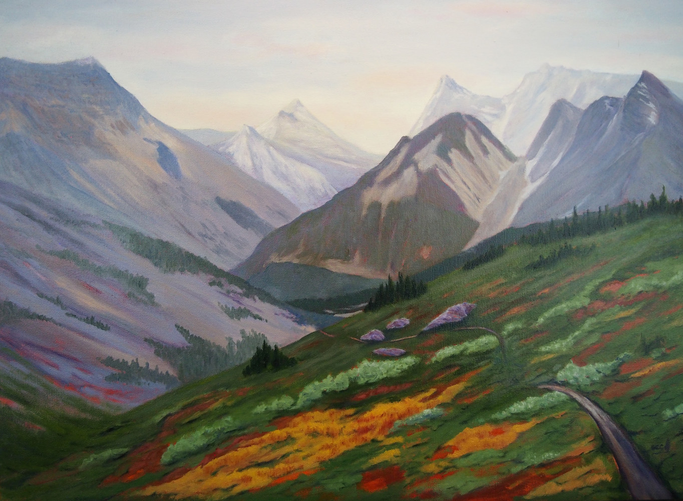 Oil painting Over the Hill by Brent Ciccone