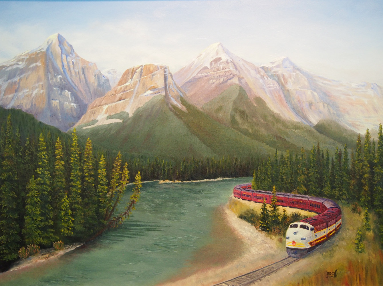 Oil painting Royal Canadain Pacific at Morants Curve by Brent Ciccone