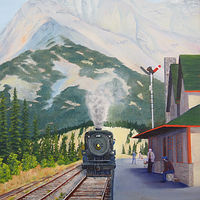 Oil painting 2816 at Banff Station by Brent Ciccone