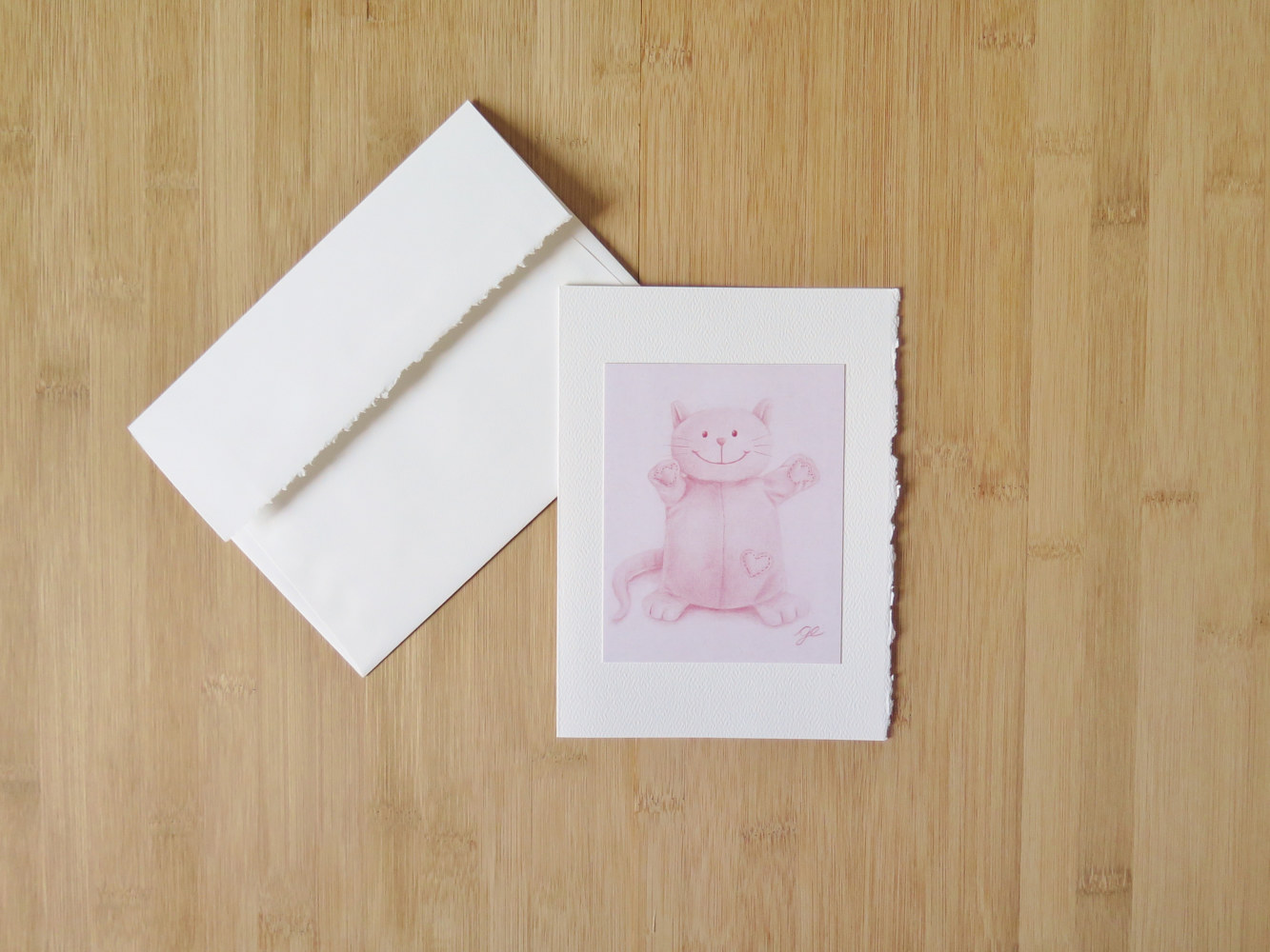 Carte 5 x 7 po, toutou chat rose by Genevieve Desy
