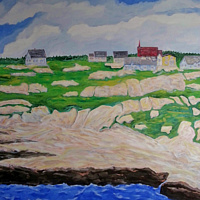 Oil painting Peggy's Cove-Nova Scotia by Gary Doll