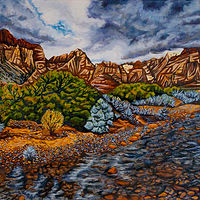 Oil painting Winter Storm Over Red Rock by Crystal Dipietro
