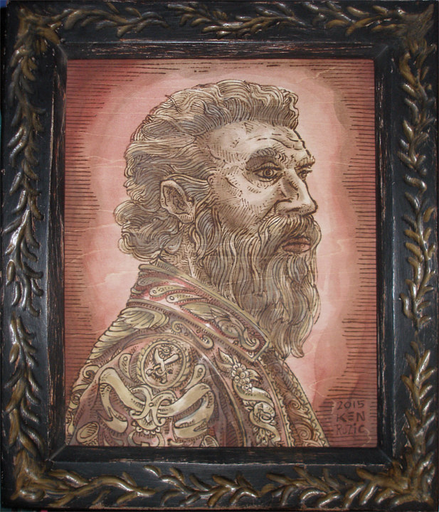 "Acrylic painting ""Portrait of Benvenuto Cellini""  by Kenneth M Ruzic"