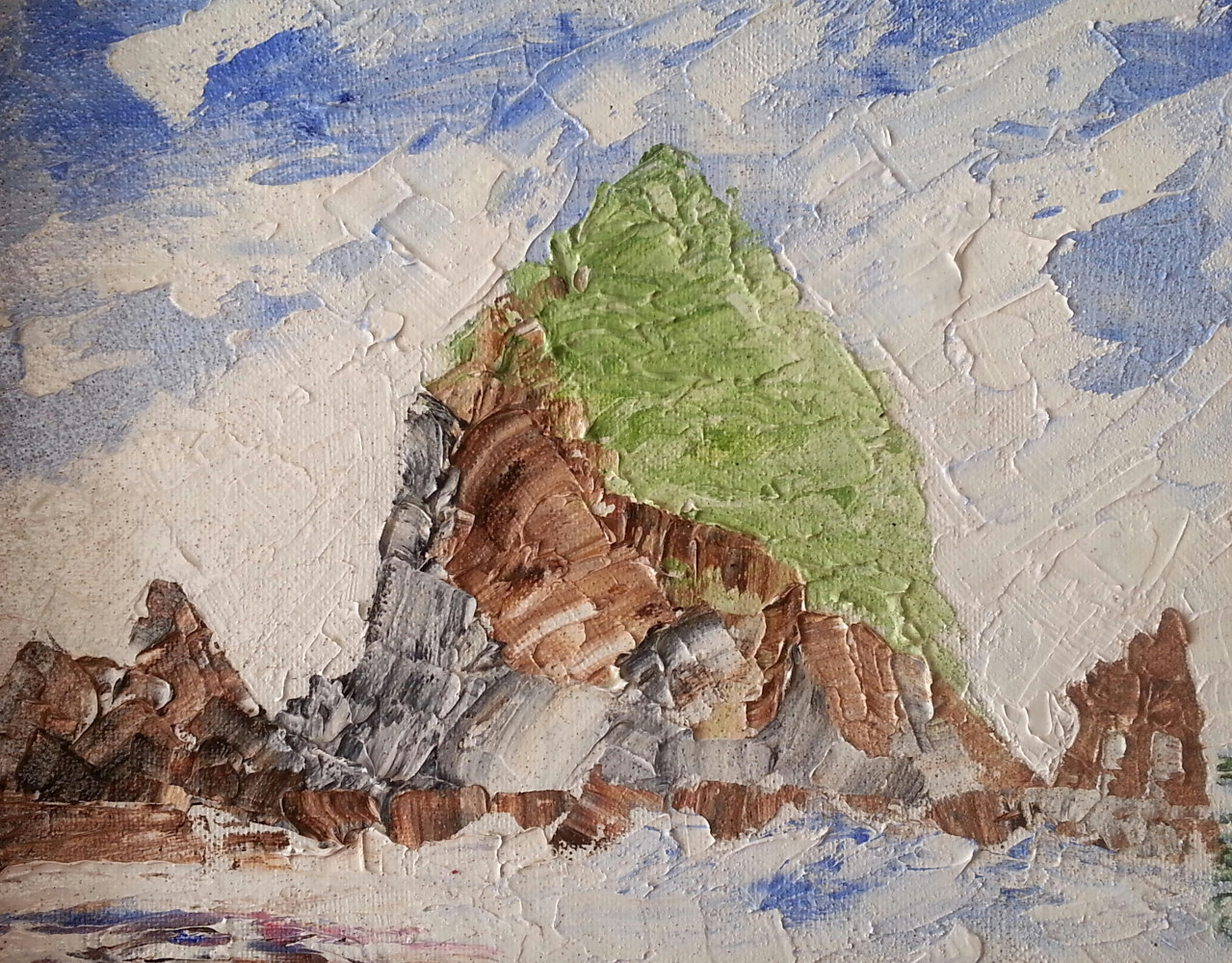 Oil painting Haystack Rock #3  by Gary Doll