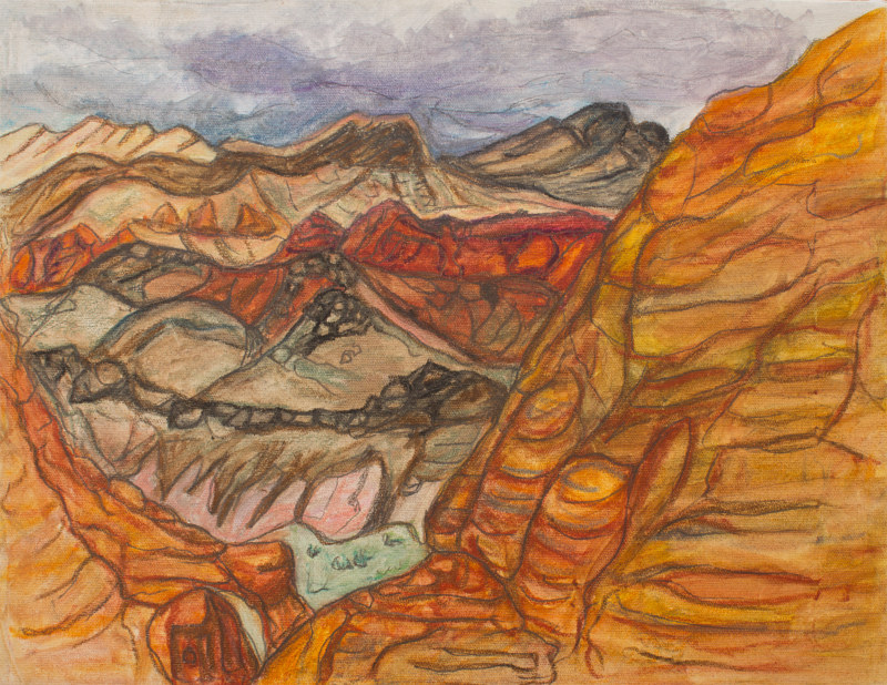 Oil painting Hoodoo View by Crystal Dipietro