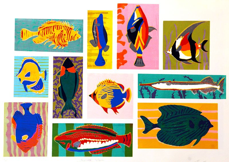 Print Tropical Fish  by Helen Vokaty