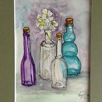 Watercolor Bottles Study by Karen Brodeur