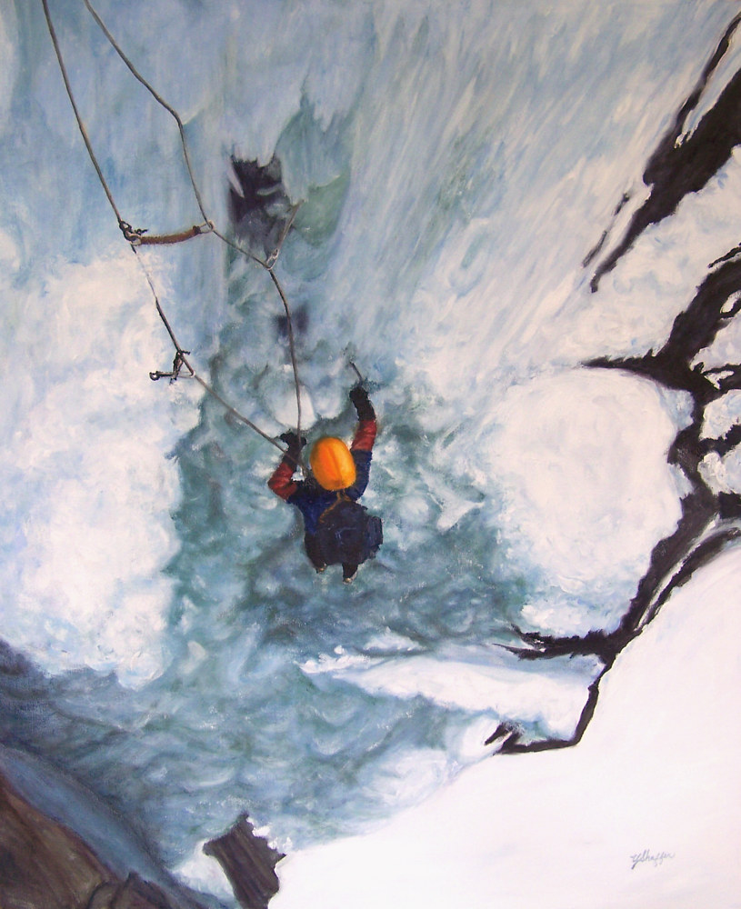 Oil painting Ice Climbing by Yvonne Shaffer