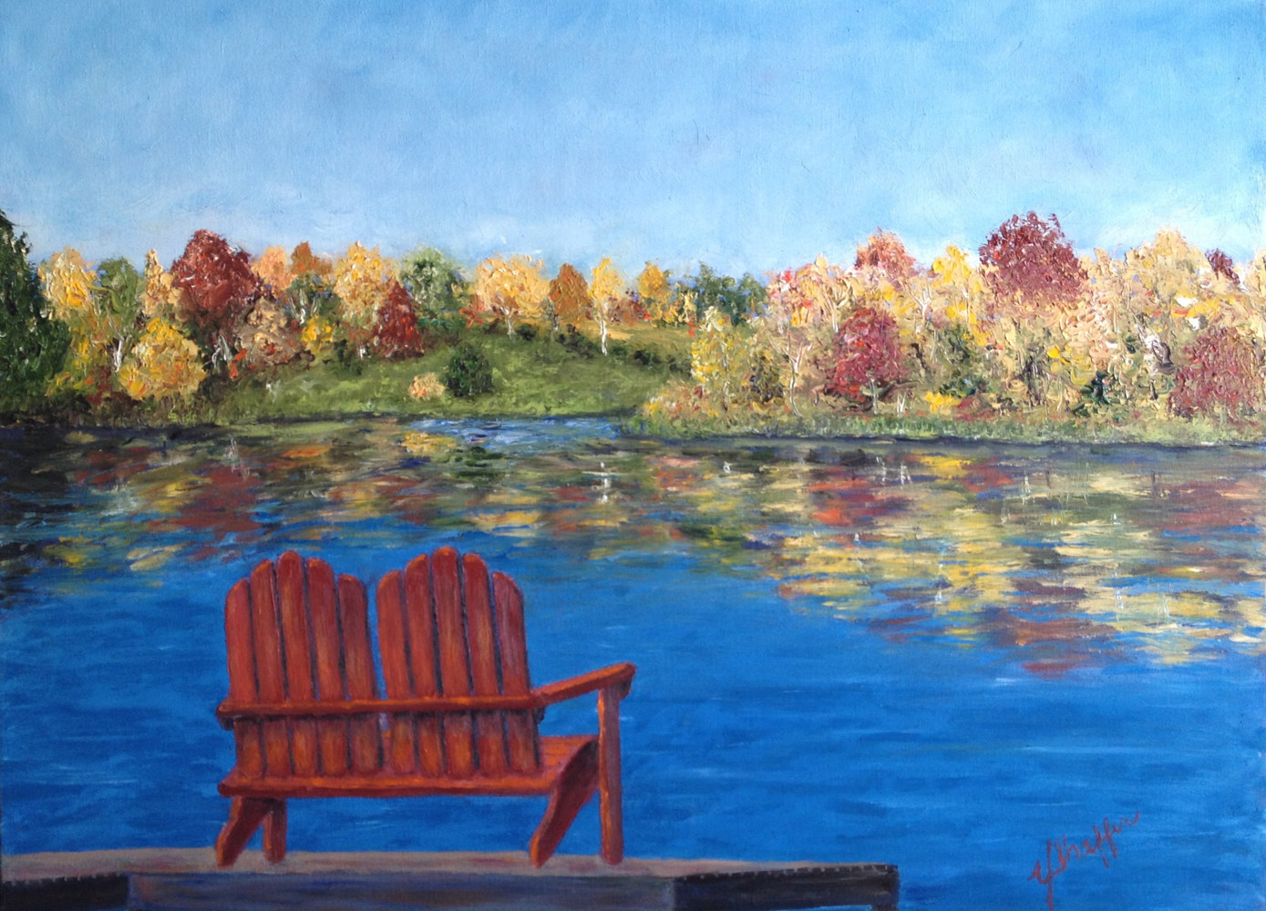 Oil painting Lakeside by Yvonne Shaffer