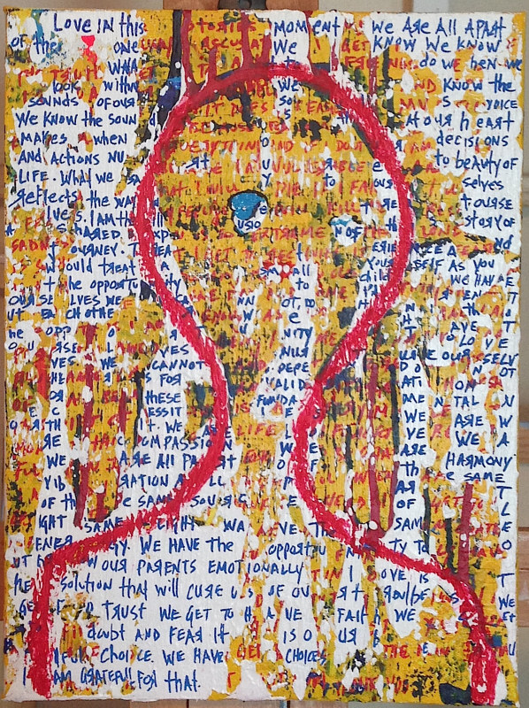 Mixed-media artwork red twin by Jeffrey Newman