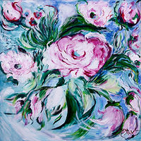 Acrylic painting Spring Flowers  by Maryam Vancouver