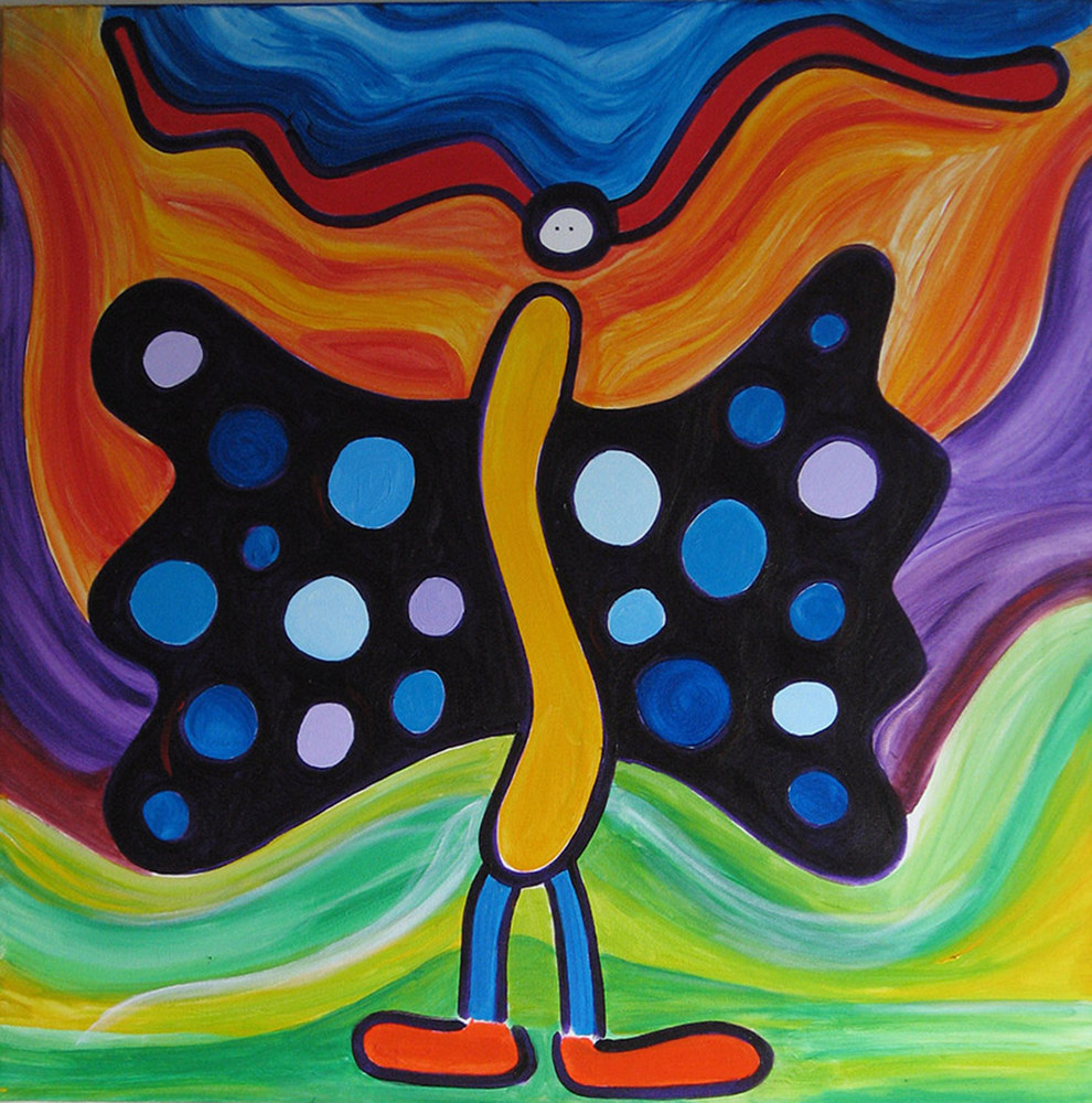 Acrylic painting Green Butterfly | Papillon Vert by Nathalie Gribinski