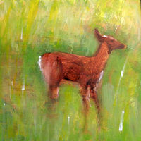 Oil painting Vale Perkins Deer by Edith dora Rey