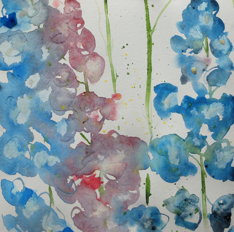 Watercolor Gwynne's Delphiniums by Edith dora Rey