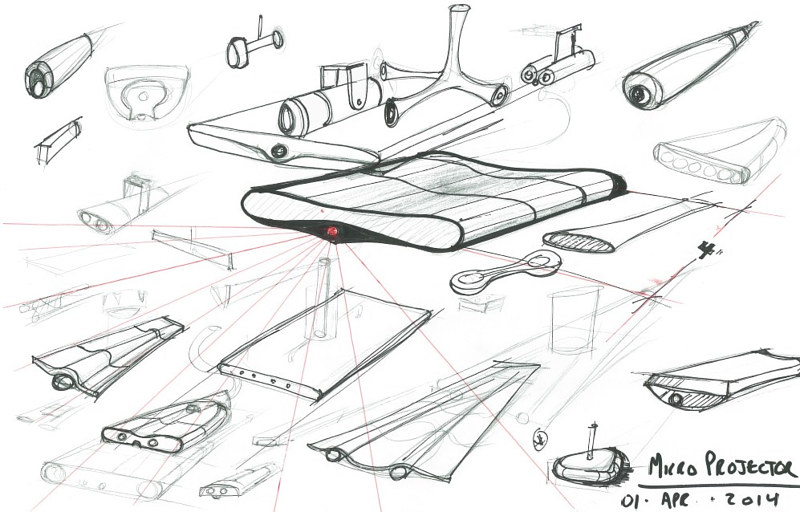 Media projector -concept sketch by John Greg Ball