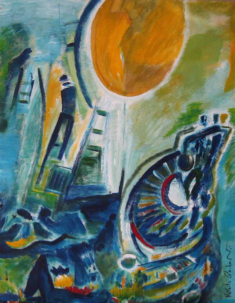 Acrylic painting Stairway to the Sun | Escalier du Soleil by Nathalie Gribinski