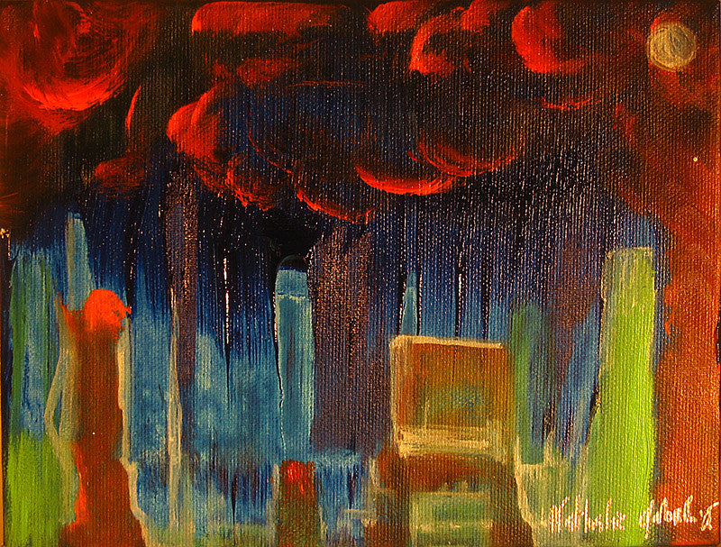 Acrylic painting Room in fire | Chambre en feu by Nathalie Gribinski