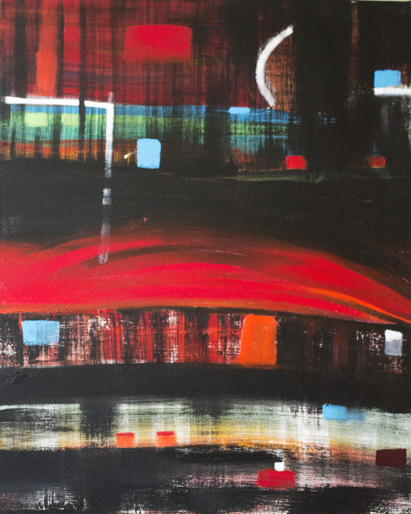 Acrylic painting Train-train by Nathalie Gribinski