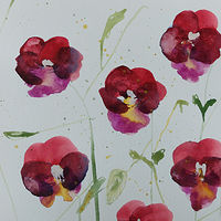 Watercolor Farmer's Market Pansies by Edith dora Rey