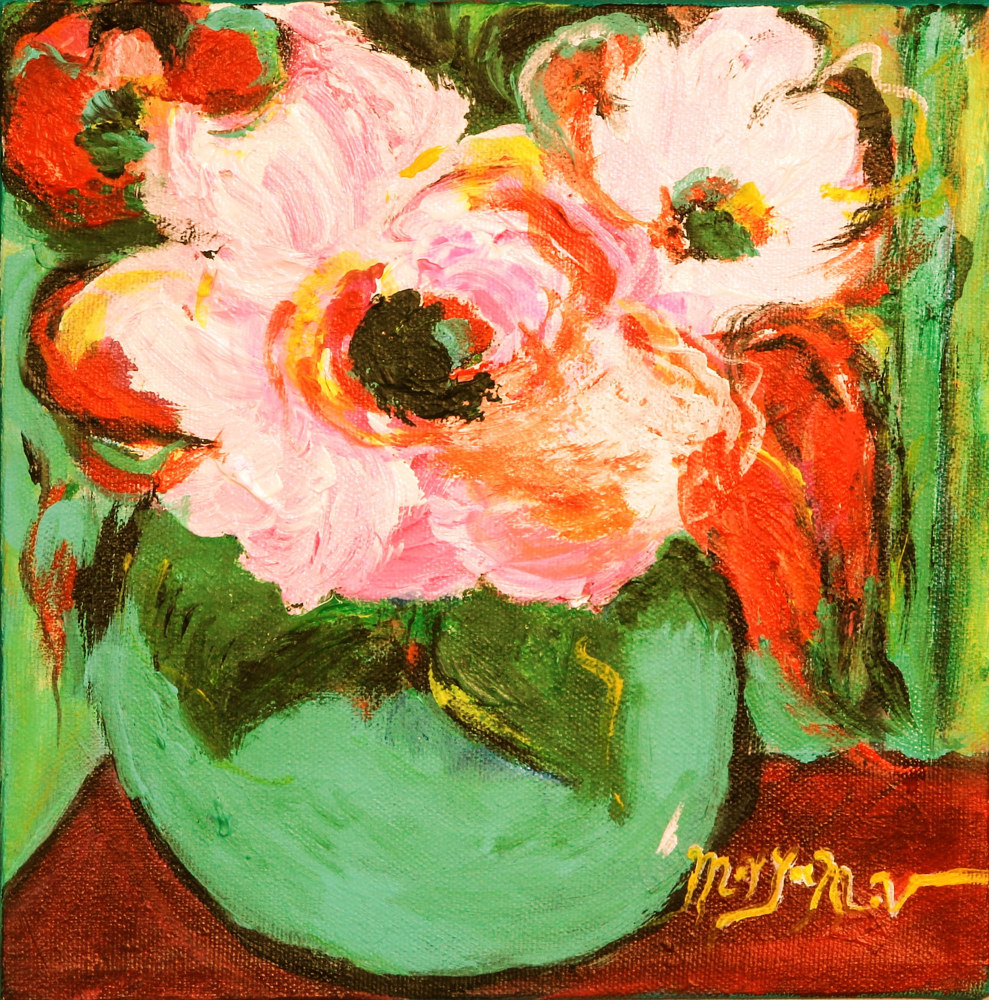 Acrylic painting Happy Flowers  by Maryam Vancouver