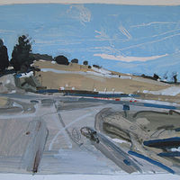 Acrylic painting Lost Dog Hill, April Thaw by Harry Stooshinoff
