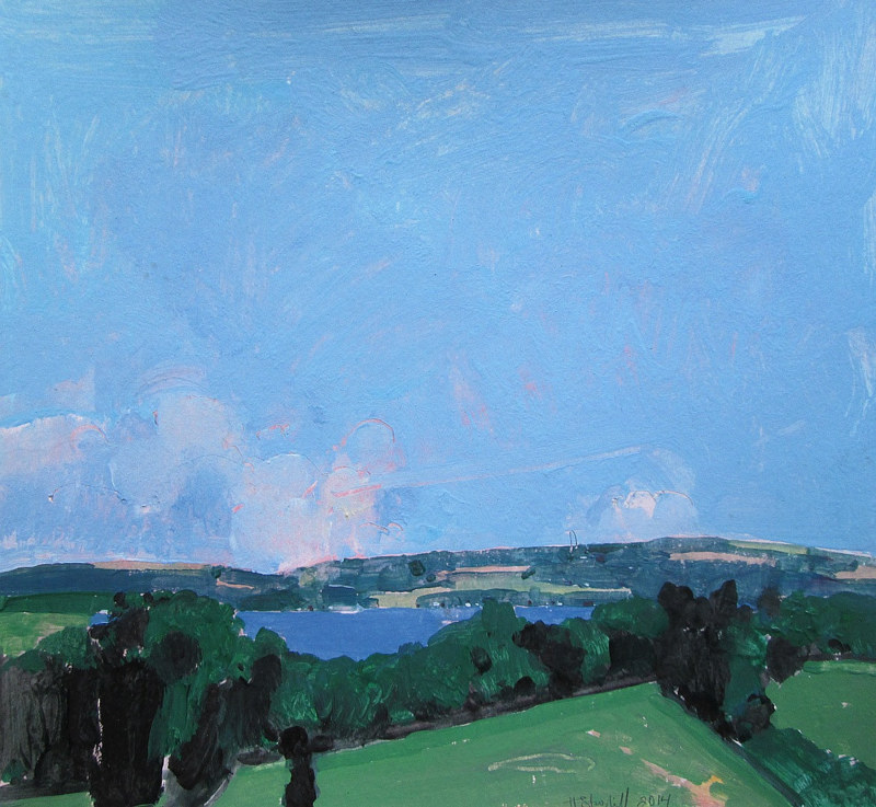 Acrylic painting Rice lake Blue by Harry Stooshinoff