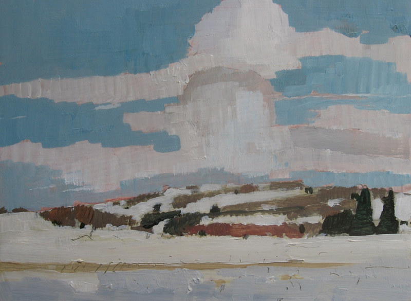 Acrylic painting Sunshine Hill, January by Harry Stooshinoff
