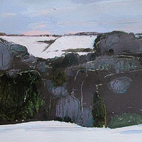 Acrylic painting Christmas Eve Day by Harry Stooshinoff