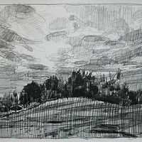 Drawing October Fields, Dusk by Harry Stooshinoff