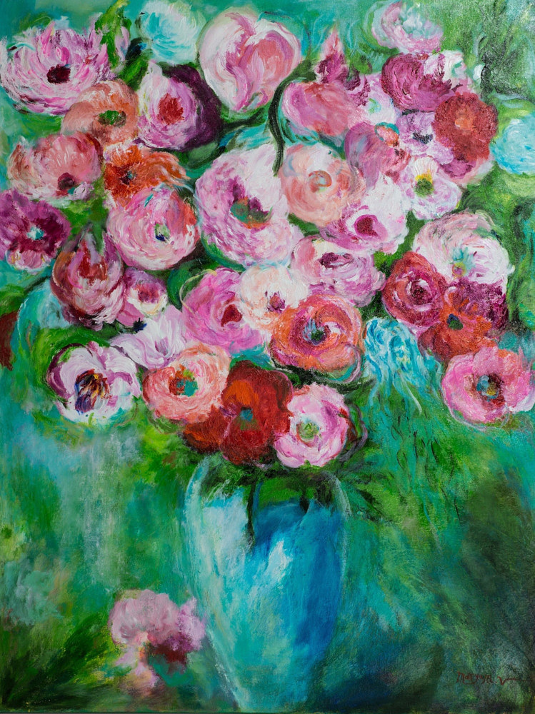 Acrylic painting Flowers of the Secrete garden by Maryam Vancouver