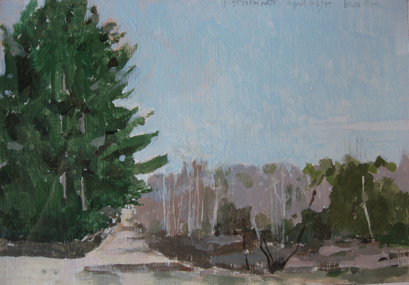 Acrylic painting Spring Back Roads by Harry Stooshinoff