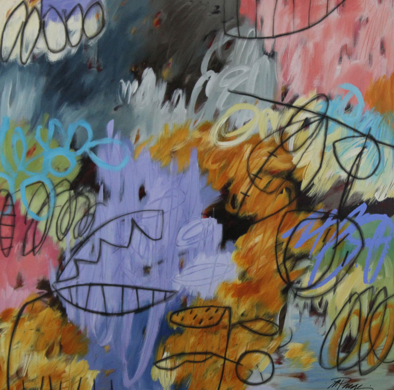 Acrylic painting Addison Paige #130   Gone Up In A Cloud of Colorful Noise by Addison Paige