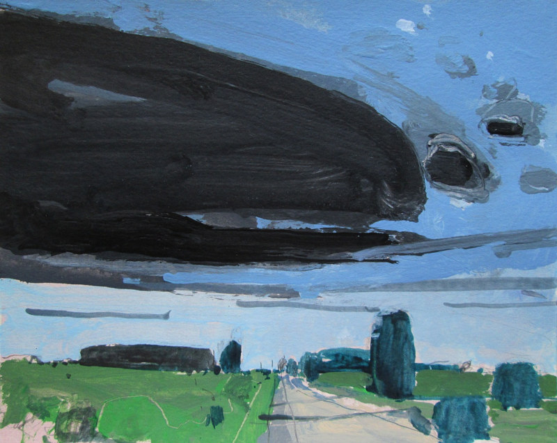 Acrylic painting County Road 10, Incoming by Harry Stooshinoff