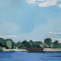 Acrylic painting Otonabee, July Blue by Harry Stooshinoff