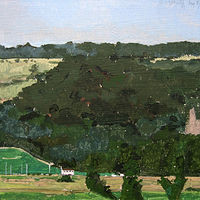 Acrylic painting Wee Bungalow Far Away by Harry Stooshinoff