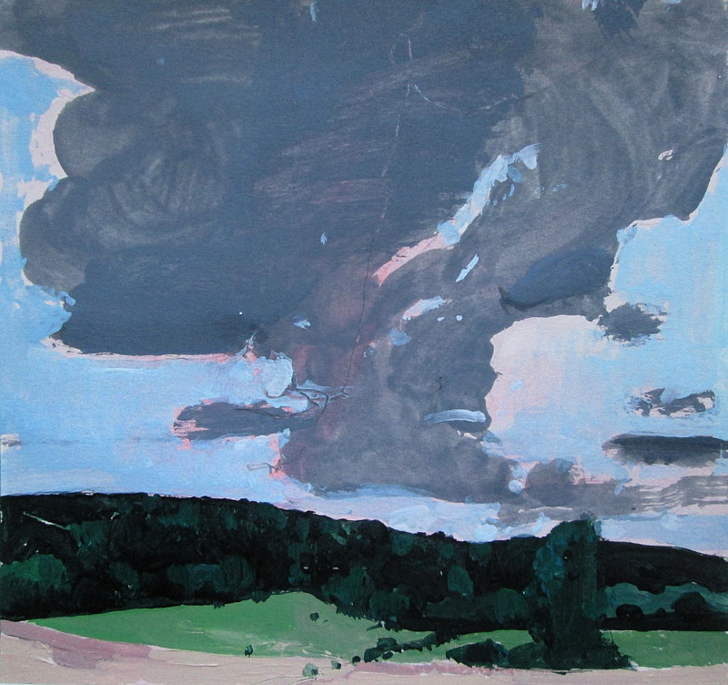 Acrylic painting RESERVED FOR NANCY R.,Cloud Over Coyote Hill by Harry Stooshinoff