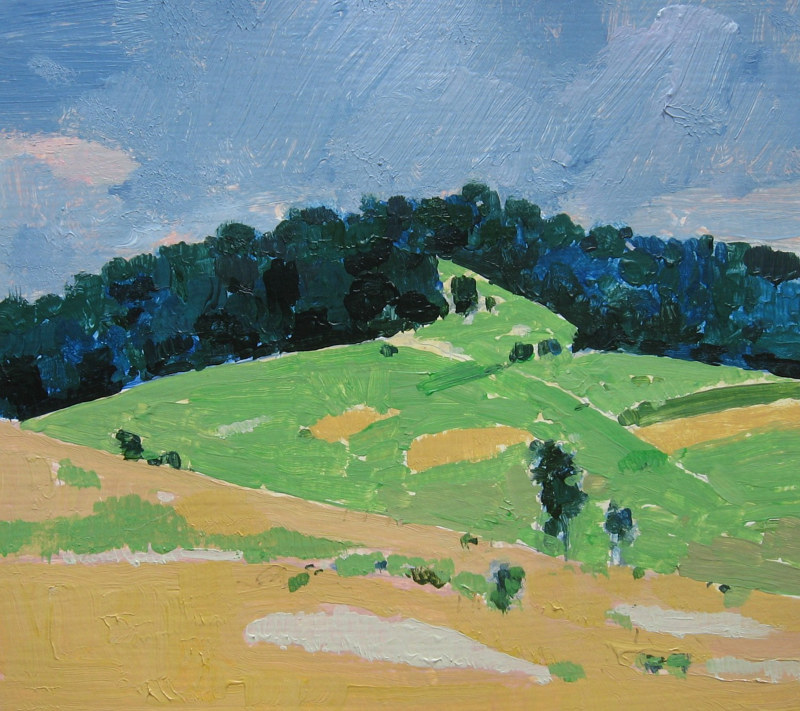 Acrylic painting Coyote Hill at Harvest by Harry Stooshinoff